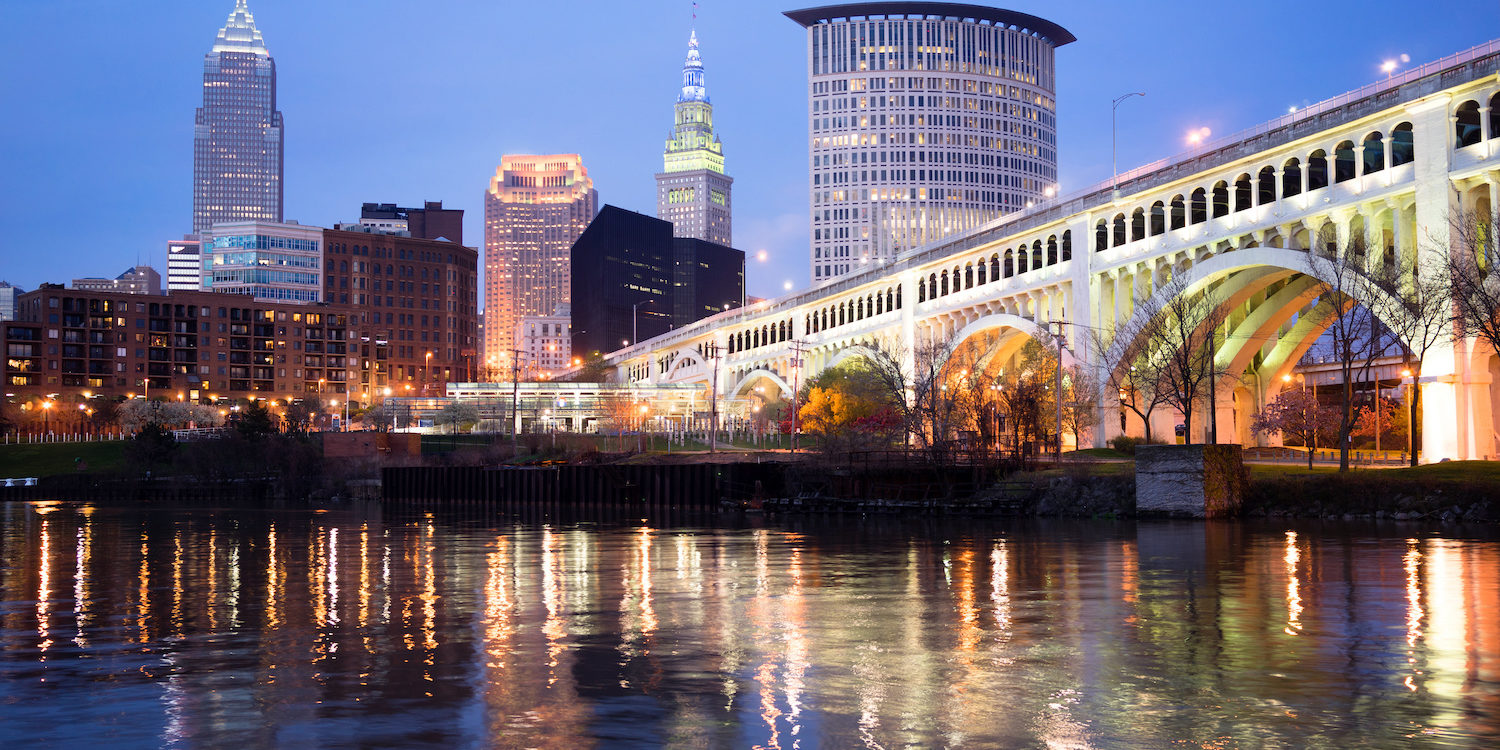 Spectacular color on the river downtown in Ohio